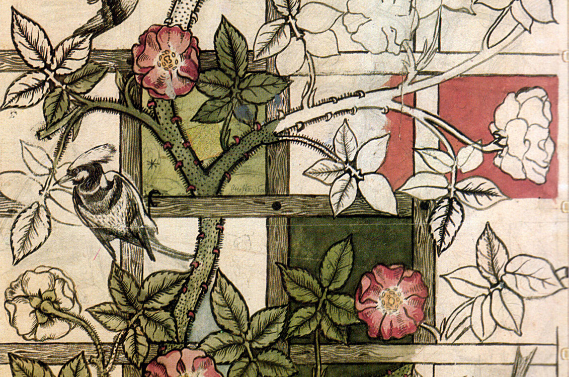 A detail of rose vines twining through lattice created by William Morris as part of the Arts and Crafts movement.