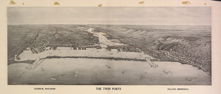 A map showing the twin ports of Duluth, MN and Superior, WI as well as the harbor and river between