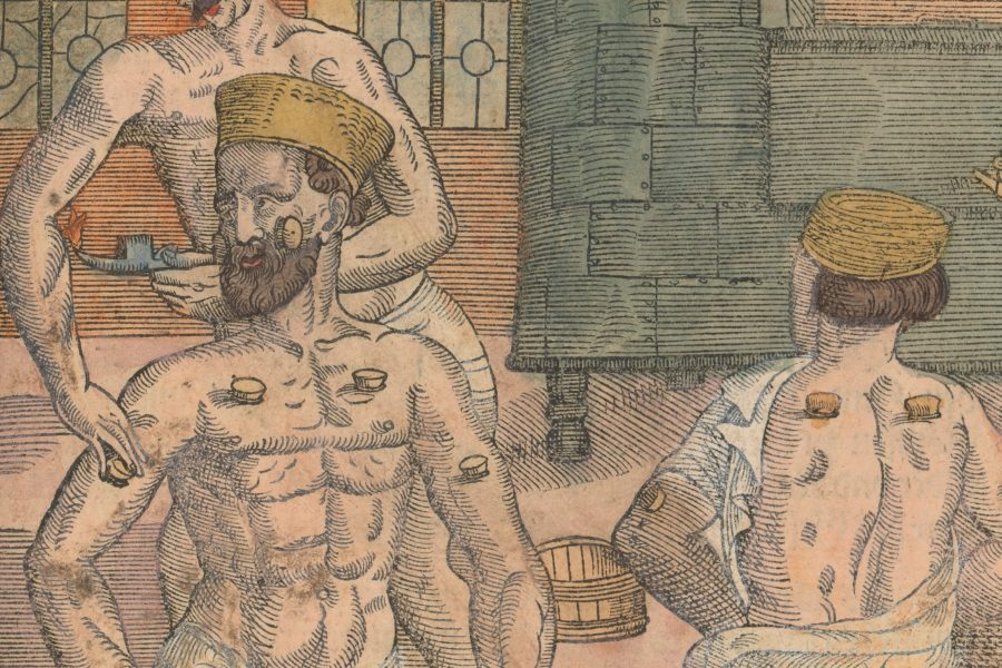 image showing three men in a bathhouse with one administering humoral medicine through cupping to another man.