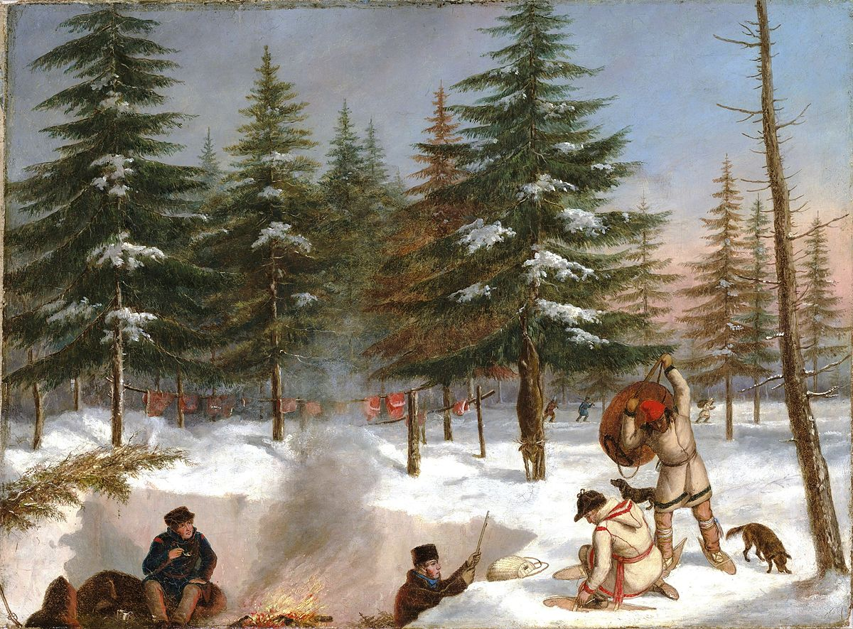 In this painting four men work in a winter hunting camp at twilight, each wearing a point blanket coat