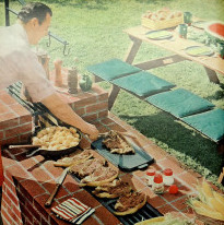 an image of a man grilling meat on a grill