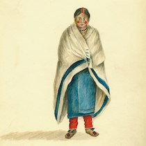 A water color of a Native American woman wearing a while point blanket over her shoulders