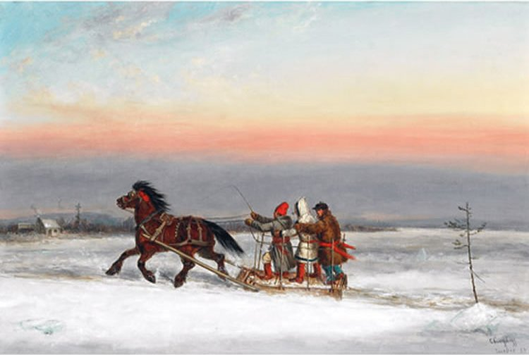 Three men rise a horse-drawn sleigh through the snow while wearing long point blanket coats
