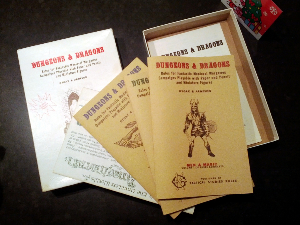 A picture of the 1974 rulebook for the roleplaying game, Dungeons and Dragons