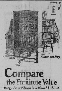 An illustrated advertisement for Edison phonograph cabinets