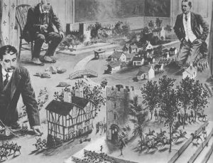 An illustration of H.G. Wells playing a wargame early in the 20th century