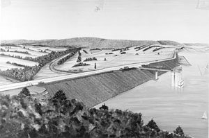 A black and white illustration of the proposed dam project showing the long retaining wall and dam tower with a lake behind the dam wall