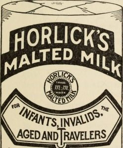 A label from the Horlick's malted milk spcifically advertising itself for infants and invalids