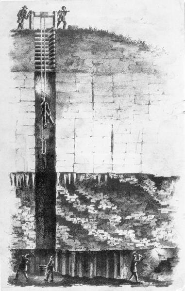 A black and white drawing of a miner being lowered into a lead mine on a windlass