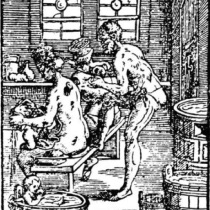 an engraving of a medieval doctor using humeral theory on a patient