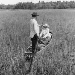 An Ojibwe man and woman on a boat in a marsh harvesting wild rice in 1966 near Ashland, WI