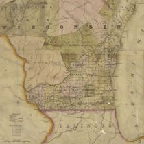 A detail of an 1839 map of Wisconsin and Michigan