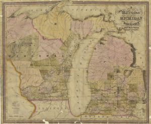 A map of Wisconsin and Michigan from 1839