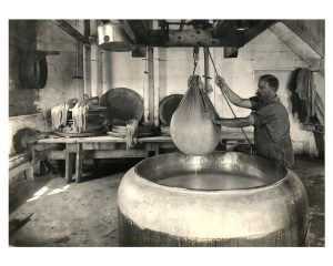 The interior of a cheese factory from 1914 showing a man lifting a sack of curds out of a vat