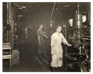 Women working at an assembly line
