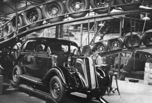 An assembly line with a car under construction
