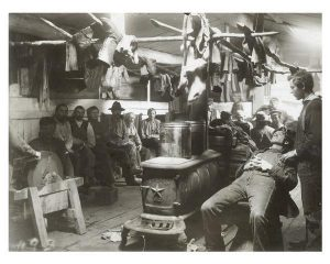 lumberjacks relaxing on a sunday morning in the bunkhouse