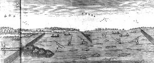 a hand drawing of a Native American fishing weir showing a heart-shaped weir and men spear fishing
