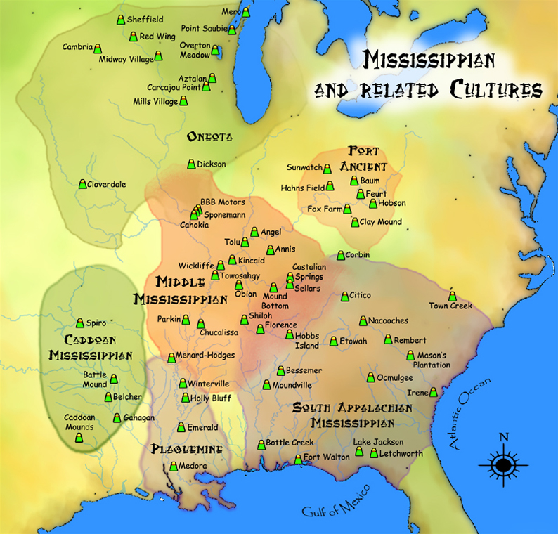 A map of the eastern half of the US showing the reach of Mississippian culture groups