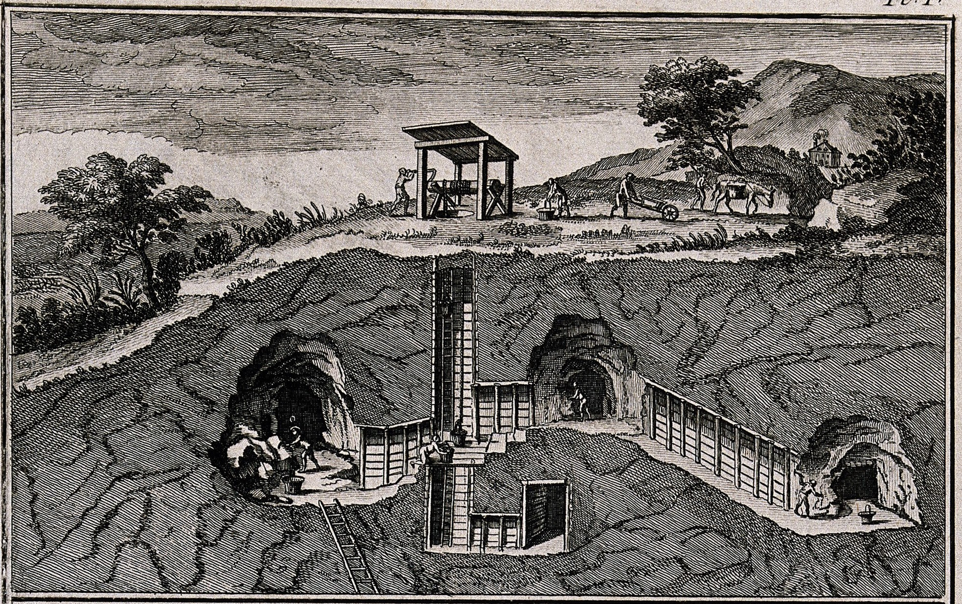 an image showing miners digging underground