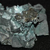 a photo of galena, a dark shiny mineral