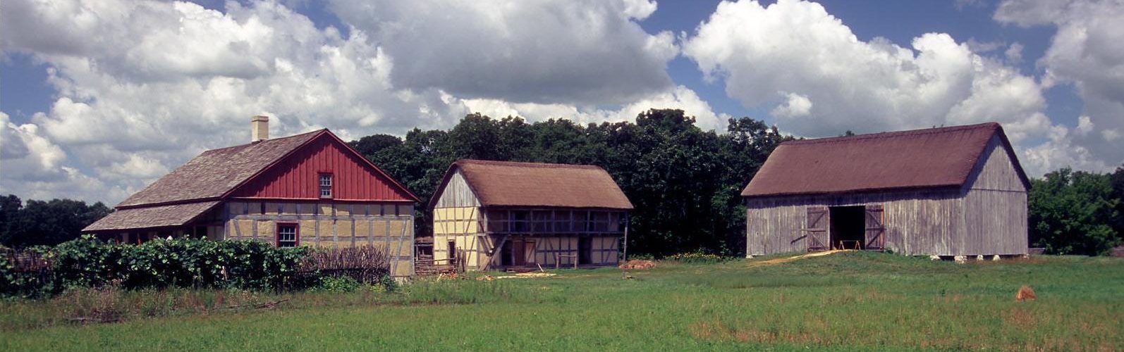 A panorama of a farmhouse at Old World Wisconsin