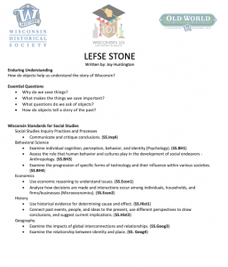 an image of the first page of the lefse stone lesson plan