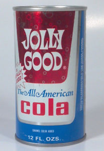 color image of a soda can with red, blue, and white colors