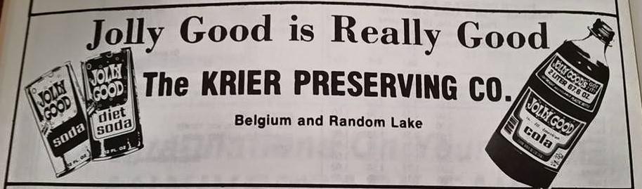 An advertisement for Krier Foods featuring Jolly Good soda.