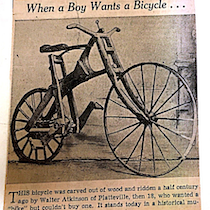 "a newspaper clipping of the Crab Tree Special with the byline ""When a Boy wants a Bicycle..."""