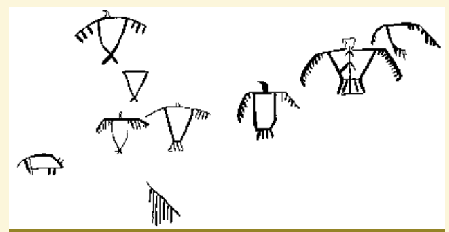 A line drawing of the thunderbird figures found on the cliff face in the preceding image.